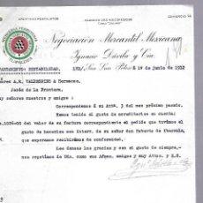 Documentos antiguos: CARTA COMERCIAL. MERCERIA FERRETERIA. NEGOCIACION MERCANTIL MEXICANA. 1912. SAN LUIS POTOSI. Lote 118865195