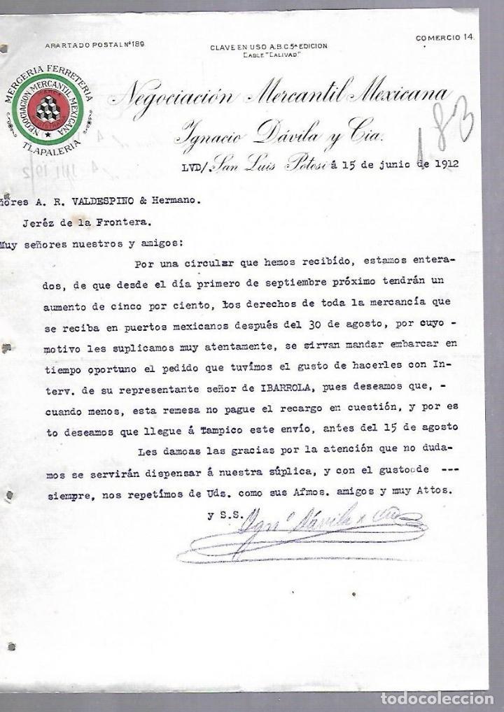 CARTA COMERCIAL. MERCERIA FERRETERIA. NEGOCIACION MERCANTIL MEXICANA. 1912. SAN LUIS POTOSI (Coleccionismo - Documentos - Otros documentos)