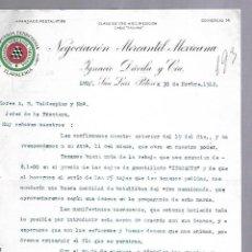Documentos antiguos: CARTA COMERCIAL. MERCERIA FERRETERIA. NEGOCIACION MERCANTIL MEXICANA. 1912. SAN LUIS POTOSI. Lote 118868383