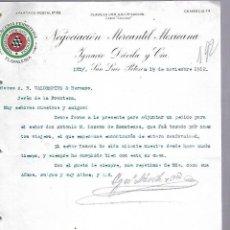 Documentos antiguos: CARTA COMERCIAL. MERCERIA FERRETERIA. NEGOCIACION MERCANTIL MEXICANA. 1912. SAN LUIS POTOSI. Lote 118868567