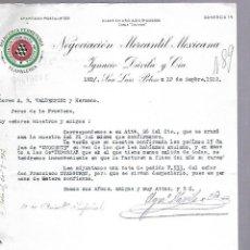 Documentos antiguos: CARTA COMERCIAL. MERCERIA FERRETERIA. NEGOCIACION MERCANTIL MEXICANA. 1912. SAN LUIS POTOSI. Lote 118868575