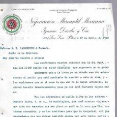 Documentos antiguos: CARTA COMERCIAL. MERCERIA FERRETERIA. NEGOCIACION MERCANTIL MEXICANA. 1912. SAN LUIS POTOSI. Lote 118868727