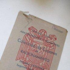 Documentos antiguos: ABASTECIMIENTOS Y TRANSPORTES, CARÁTULA DE CUPONES DE RACIONAMIENTO, PRIMERA CATEGORÍA-1949 . Lote 119003303