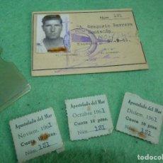 Documentos antiguos: RARISIMO CARNET APOSTOLADO DEL MAR DE SANTANDER 1961 SOCIO ACTIVO MAS 3 CUOTAS Y FUNDA. Lote 119097635