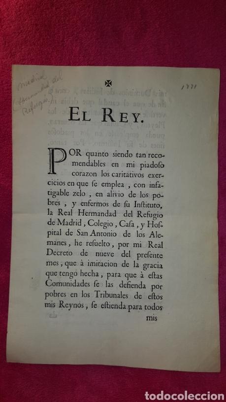 MANDATO DE CUMPLIMIENTO DE REAL RESOLUCIÓN 1771 (Coleccionismo - Documentos - Otros documentos)