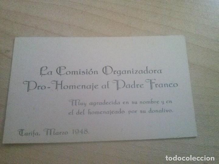 DOCUMENTO DE UNA COMISION DE UN HOMENAJE AL PADRE FRANCO EN TARIFA EN 1948 (Coleccionismo - Documentos - Otros documentos)