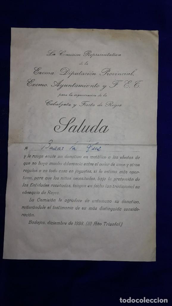 ANTIGUA CARTA DIPUTACION PROVINCIAL DE BADAJOZ, EPOCA GUERRA CIVIL.DIRIGIDA A BAZAR LA LUZ.AÑO 1938 (Coleccionismo - Documentos - Otros documentos)