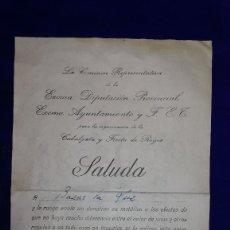 Documentos antiguos: ANTIGUA CARTA DIPUTACION PROVINCIAL DE BADAJOZ, EPOCA GUERRA CIVIL.DIRIGIDA A BAZAR LA LUZ.AÑO 1938. Lote 119502091