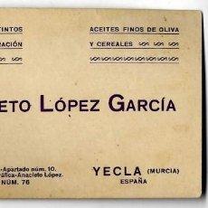 Documentos antiguos: MURCIA MURCIA YECLA TARJETA VINOS FINOS Y ACEITES ANACLETO LOPEZ AÑOS 50. Lote 119530567