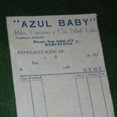 Documentos antiguos: ALBARAN DEBITO AZUL BABY - RIBA, CARCAÑO Y CIA, BARCELONA - AÑOS 1920. Lote 119544191
