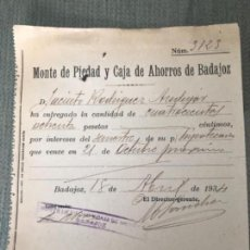 Documentos antiguos: ANTIGUO RESGUARDO MONTE PIEDAD Y CAJA AHORROS BADAJOZ 1934 . Lote 119937599
