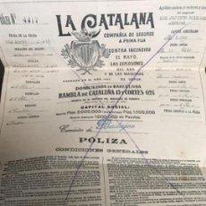 Documentos antiguos: ANTIGUA PÓLIZA COMPAÑÍA SEGUROS LA CATALANA 1915 BADAJOZ. Lote 119954283