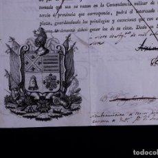 Documentos antiguos: BLASONES Y FIRMAS MILITARES, D. JOSE RODRIGUEZ DE ARIAS, SAN FERNANDO 1837. Lote 119954371