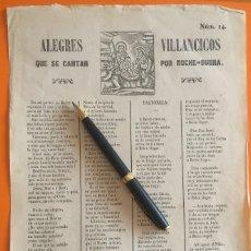 Documentos antiguos: MANRESA- BARCELONA- ALEGRES VILLANCICOS Nº 14 1.873. Lote 119969267