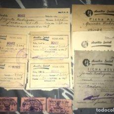 Documentos antiguos: ANTIGUOS RECIBOS Y TICKETS AUXILIO SOCIAL FICHA AZUL FRENTE JUVENTUDES FALANGE 1949 BADAJOZ. Lote 120257247