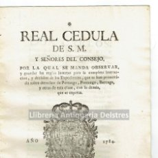 Documentos antiguos: [PORTAZGO, PONTAZGO, BARCAGE, 1784] CARLOS III. REAL CÉDULA.... Lote 120660183