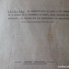 Documentos antiguos: PROYECTO ABASTECIMIENTO DE AGUA A LOS PUEBLOS DE CADIZ. Lote 120764703
