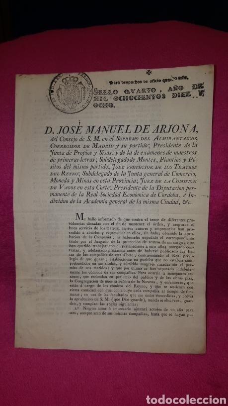 NORMAS PARA EL FUNCIONAMIENTO DE LOS TEATROS. 1818 (Coleccionismo - Documentos - Otros documentos)
