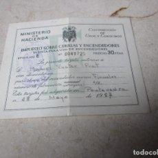 Documentos antiguos: IMPUESTO SOBRE CERILLAS Y ENCENDEDORES - MARCA FLUMALUX - AÑO 1957. Lote 121086539
