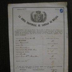 Documentos antiguos: SANIDAD DE MALAGA JUNTA PROVINCIAL - PATENTE SALUD BARCO - AÑO 1866 -VER FOTOS-(V- 14.529). Lote 121152203