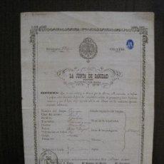 Documentos antiguos: SANIDAD DE SEVILLA JUNTA PROVINCIAL - PATENTE SALUD BARCO - AÑO 1866 -VER FOTOS-(V- 14.530). Lote 121152339