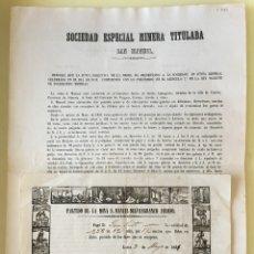 Documentos antiguos: CUEVAS ALMANZORA- ALMERIA- LORCA- S.E.M. SAN MANUEL- MEMORIA 1862- REPARTO 1.861. Lote 121234299