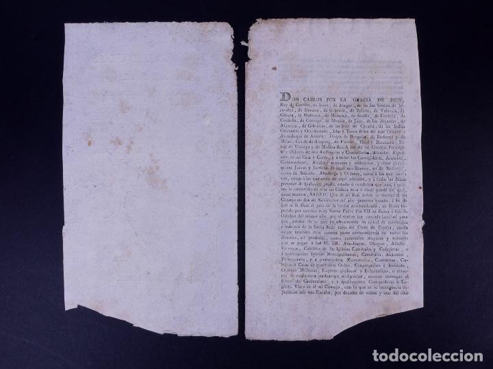 Documentos antiguos: REAL CEDULA DE EXACCION DE UN NOVENO DE TODOS LOS DIEZMOS, PALENCIA 1801 - Foto 2 - 121589999