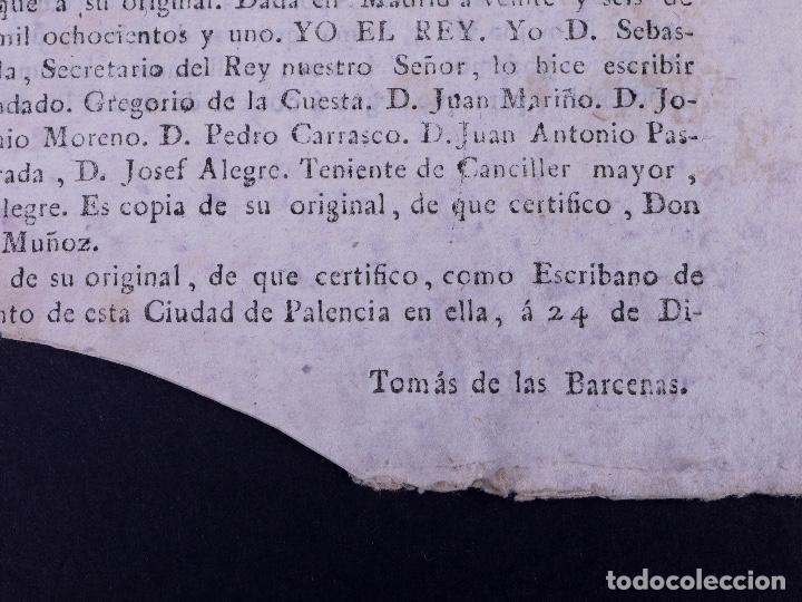 Documentos antiguos: REAL CEDULA DE EXACCION DE UN NOVENO DE TODOS LOS DIEZMOS, PALENCIA 1801 - Foto 8 - 121589999