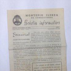Documentos antiguos: MONTEPIO ILERDA DE CONDUCTORES - BOLETIN INFORMATIVO - NUMERO 1 (DICIEMBRE 1960). Lote 121656607