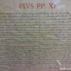 Documentos antiguos: PAPA PIO XI. CONCESION ORATORIO PRIVADO 1923. FIRMADO OBISPO DE VICH. SELLO Y FIRMA CARDENALICIA. Lote 122000419