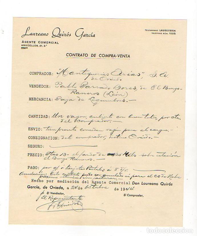 CONTRATO COMPRA VENTA. MANTEQUERIA ARIAS. ASTURIAS. OVIEDO. 1944 (Coleccionismo - Documentos - Otros documentos)