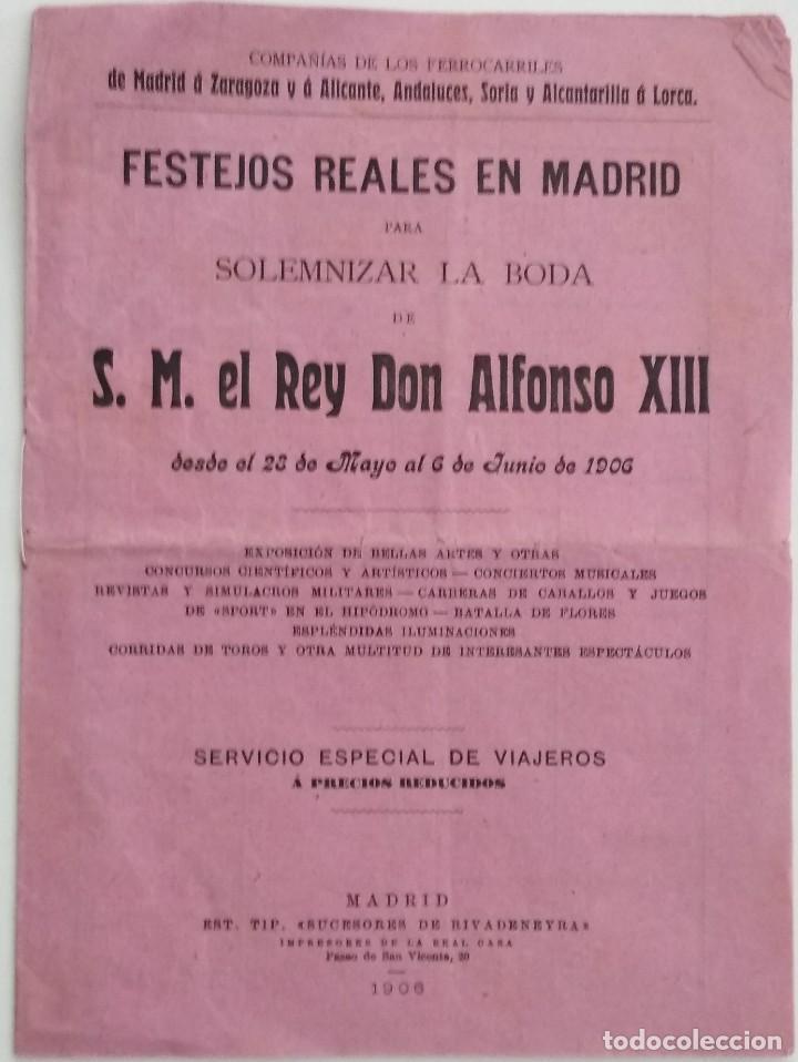 FOLLETO TARIFAS ESPECIALES FERROCARRILES BODA REY DON ALFONSO XIII AÑO 1906 (Coleccionismo - Documentos - Otros documentos)