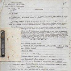 Documentos antiguos: LOTE CON 300 FICHAS FOLIO ORIGINALES PARA LA REDACCIÓN DE ESPAÑOLES EN CUBA +24 CARTAS DE ENTIDADES . Lote 122268579