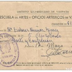 Documentos antiguos: == PA228 - ESCUELA DE ARTES Y OFICIOS ARTISTICOS DE VALENCIA - NOTAS EN CORTE Y CONFECCION - CURSO 1. Lote 122348491