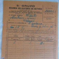 Documentos antiguos: ENTREGA AL 2º GRUPO, REGIMEN OBLIGATORIO RETIROS, CAJA DE PREVISIÓN SOCIAL DEL PAIS VALENCIANO. 1938. Lote 122434027
