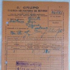 Documentos antiguos: ENTREGA AL 2º GRUPO, REGIMEN OBLIGATORIO RETIROS, CAJA DE PREVISIÓN SOCIAL DEL PAIS VALENCIANO. 1938. Lote 122434163