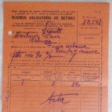 Documentos antiguos: ENTREGA AL REGIMEN OBLIGATORIO RETIROS, CAJA DE PREVISIÓN SOCIAL DEL PAIS VALENCIANO. 1936. Lote 122435099
