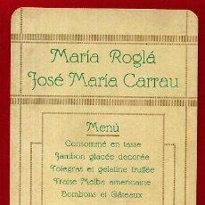 Documentos antiguos: MENU , MARIA ROGLA Y SOME MARIA CARRAU , VALENCIA 1918 , TARJETA , ORIGINAL , D6. Lote 122458143