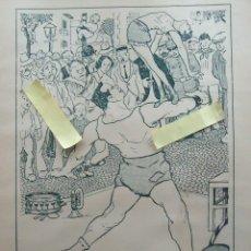 Documentos antiguos: ILUSTRACION VINTAGE RETRO CIRCO AMBULANTE ESPECTACULO PUBLICO TEATRO CALLEJERO HOMBRE FORZUDO ACERO. Lote 122519411