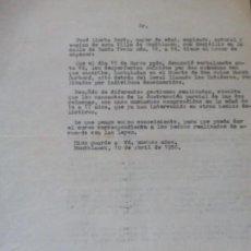 Documentos antiguos: DENUNCIA DE VECINO DE MONTBLANCH TARRAGONA POR VANDALISMO. Lote 122665063