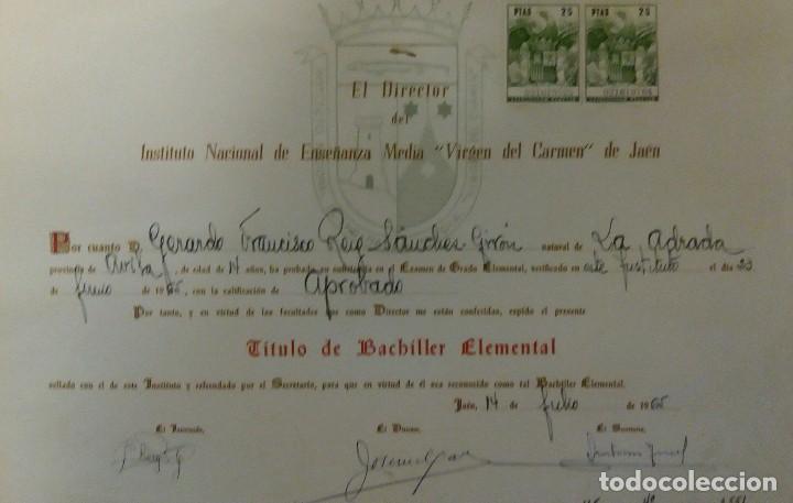 JAÉN TÍTULO INSTITUTO VIRGEN DEL CARMEN (Coleccionismo - Documentos - Otros documentos)
