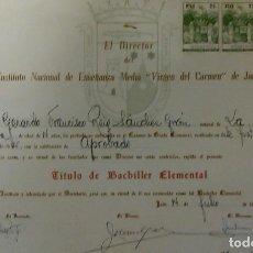 Documentos antiguos: JAÉN TÍTULO INSTITUTO VIRGEN DEL CARMEN. Lote 122705979