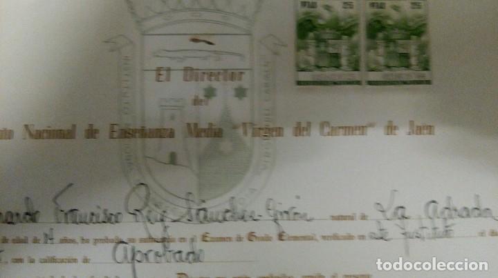Documentos antiguos: Jaén título instituto Virgen del Carmen - Foto 2 - 122705979