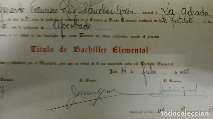 Documentos antiguos: Jaén título instituto Virgen del Carmen - Foto 3 - 122705979