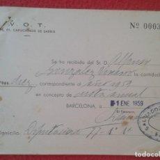 Documentos antiguos: ANTIGUO DOCUMENTO RECIBO RECIBÍ V.O.T. RR. PP. CAPUCHINOS DE SARRIÁ BARCELONA 1959 VER FOTO/S Y DESC. Lote 122809487