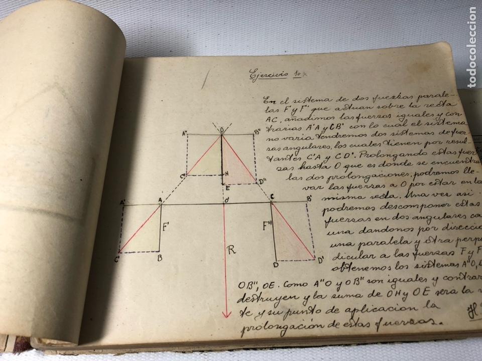 Documentos antiguos: MANUSCRITO DE MECANICA Y FISICA CON 394 EJERCICIOS REALIZADOS ,AÑOS 40..50 - Foto 9 - 122815215