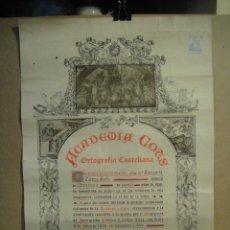 Documentos antiguos: DIPLOMA DE ORTOGRAFIA CASTELLANA - ACADEMIA COTS , BARCELONA AÑO 1936 - 65 X 44 CNTº. Lote 122941691
