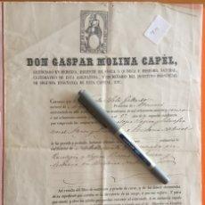 Documentos antiguos: MOJACAR- ALMERIA- CERTIFICACION INSTITUTO SEGUNDA ENSEÑANZA ALMERIA- 1.867 - NICOLAS SOLA. Lote 122969447