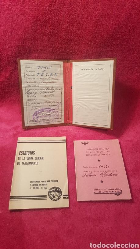 Documentos antiguos: Carnet de los estatutos de la Unión General de Trabajadores Madrid+ Carnet de federado - Foto 3 - 122974188