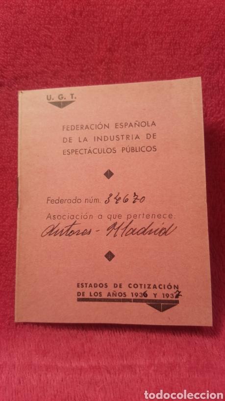 Documentos antiguos: Carnet de los estatutos de la Unión General de Trabajadores Madrid+ Carnet de federado - Foto 7 - 122974188
